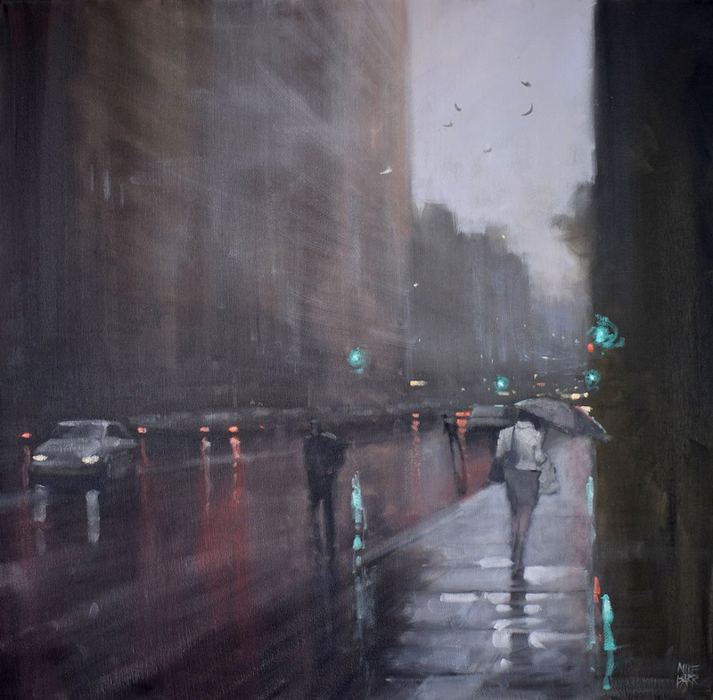 (CreativeWork) Puddles on Waymouth by Mike Barr. oil-painting. Shop online at Bluethumb.