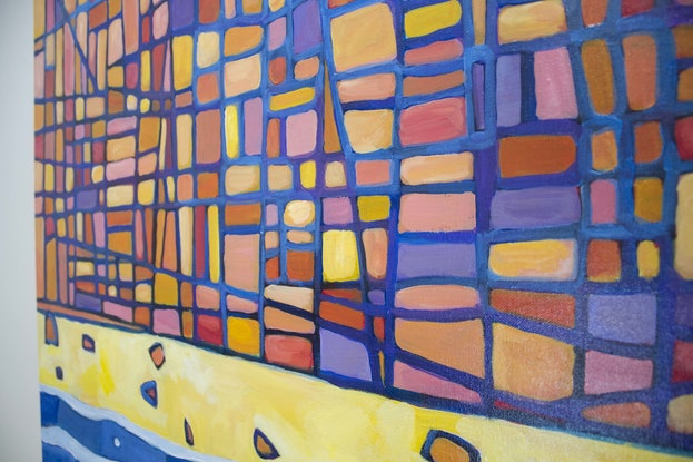 (CreativeWork) Sandstone Cliffs III by Matthew Broughton. Acrylic Paint. Shop online at Bluethumb.