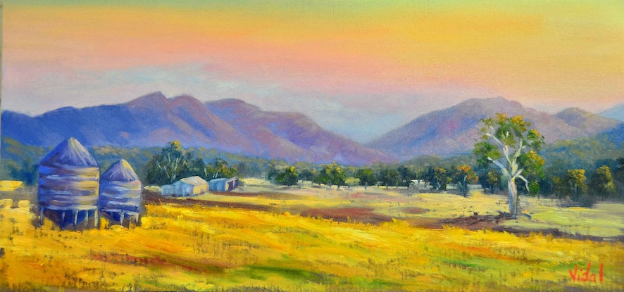 (CreativeWork) Oil on canvas Farms near Grampians, Victoria by Christopher Vidal. Oil Paint. Shop online at Bluethumb.