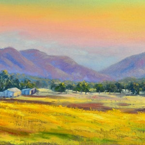 (CreativeWork) Oil on canvas Farms near Grampians, Victoria by Christopher Vidal. oil-painting. Shop online at Bluethumb.
