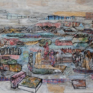 (CreativeWork) PONTOON by Chris Rowe. mixed-media. Shop online at Bluethumb.