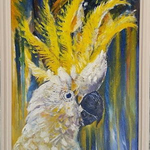 (CreativeWork) 'Sulphur Crested White Cockatoo' by Susan Capan. oil-painting. Shop online at Bluethumb.