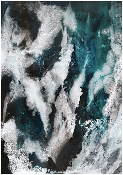 (CreativeWork) *Newly Available* Changing Tides | 'Ocean' Series by Etre Britta. resin. Shop online at Bluethumb.