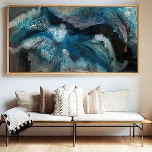 (CreativeWork) 'Midnight Swell' | Ocean Series by Etre Britta. resin. Shop online at Bluethumb.