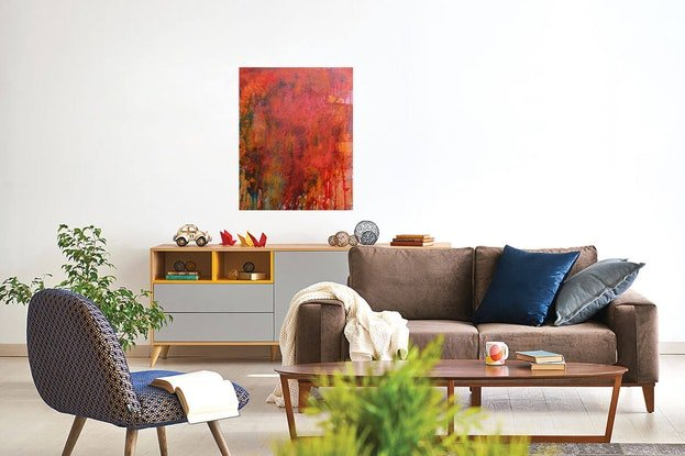 (CreativeWork) Abstract Painting.  Wallmatter 12  Urban Landscape, (Professionally Framed) Acrylic paint, concrete & shellac by Jenny Davis. Acrylic Paint. Shop online at Bluethumb.