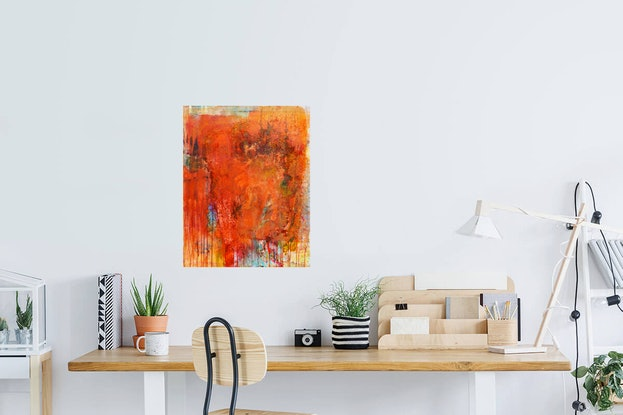 (CreativeWork) Wallmatter 14  (Framed) Urban Landscape, Abstract painting. Contemporary modern, texture. Acrylic paint, shellac, ink & sealer by Jenny Davis. Mixed Media. Shop online at Bluethumb.