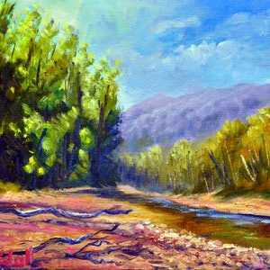 (CreativeWork) An afternoon by the creek by Christopher Vidal. oil-painting. Shop online at Bluethumb.