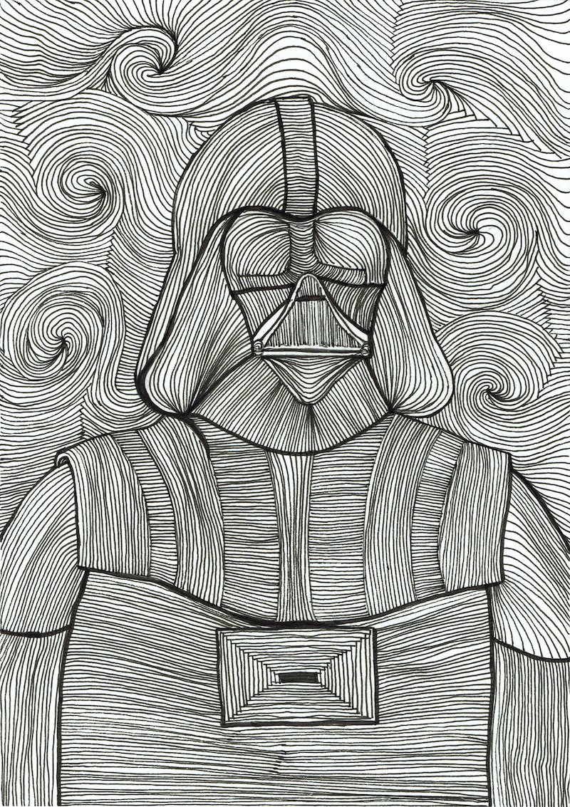 (CreativeWork) A Darth Starry Starry Night by Ersu Turk. drawing. Shop online at Bluethumb.