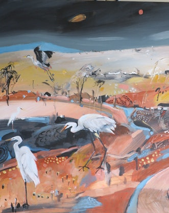 (CreativeWork) Egrets by Susan Trudinger. . Shop online at Bluethumb.