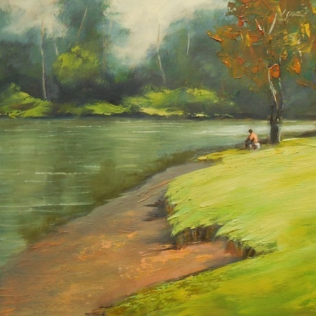(CreativeWork) Quiet Moment at the Crossing by Anne Strambi. Oil Paint. Shop online at Bluethumb.
