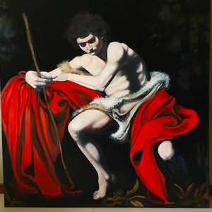 (CreativeWork) Artist Study- Caravaggio, St John the Baptist by Nicholas McCandlish. Oil Paint. Shop online at Bluethumb.