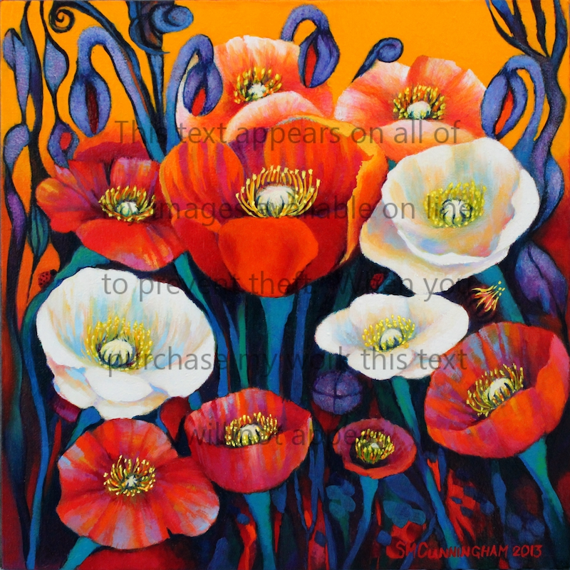 (CreativeWork) IceLand Poppies #3 by Susan Cunningham Vibrant Expressions. oil-painting. Shop online at Bluethumb.