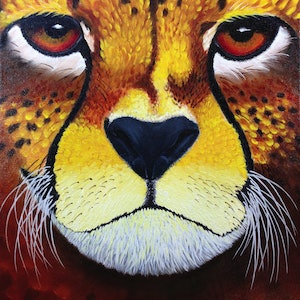 (CreativeWork) Big Cats Series: #1 Cheetah by Trevor Brown. oil-painting. Shop online at Bluethumb.