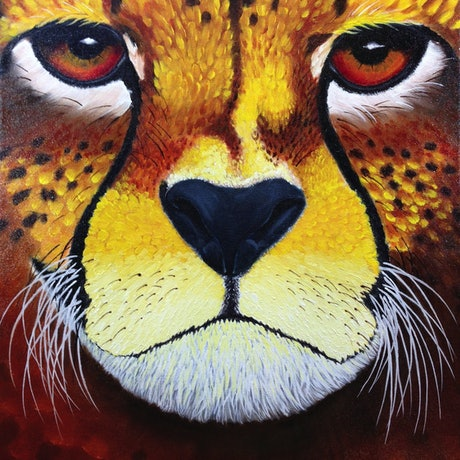 (CreativeWork) Big Cats Series: #1 Cheetah by Trevor Brown. Oil Paint. Shop online at Bluethumb.