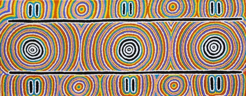 (CreativeWork) Ngapa Tjukurrpa - Water Dreaming, 17­SF17 by Susan Fry. arcylic-painting. Shop online at Bluethumb.