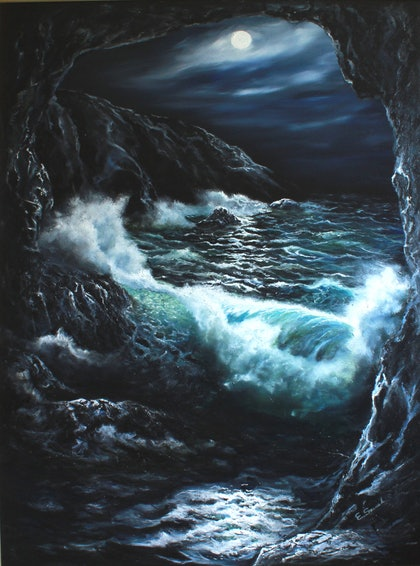 (CreativeWork) THE CAVE by Eddie Szenek. oil-painting. Shop online at Bluethumb.