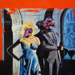 (CreativeWork) From Russia with Love by Jeremy Elkington. oil-painting. Shop online at Bluethumb.