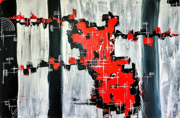 (CreativeWork) #RED by Leith Kennedy. Acrylic Paint. Shop online at Bluethumb.