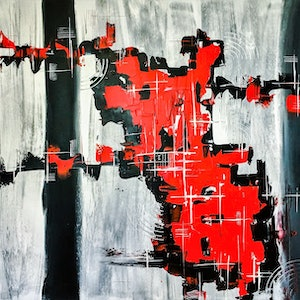 (CreativeWork) #RED by Leith Kennedy. arcylic-painting. Shop online at Bluethumb.