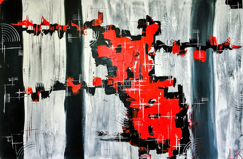 (CreativeWork) #RED by Leith Kennedy. acrylic-painting. Shop online at Bluethumb.