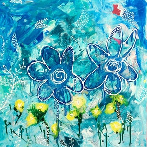 (CreativeWork) Summer Flowers by Paddy Colahan. arcylic-painting. Shop online at Bluethumb.