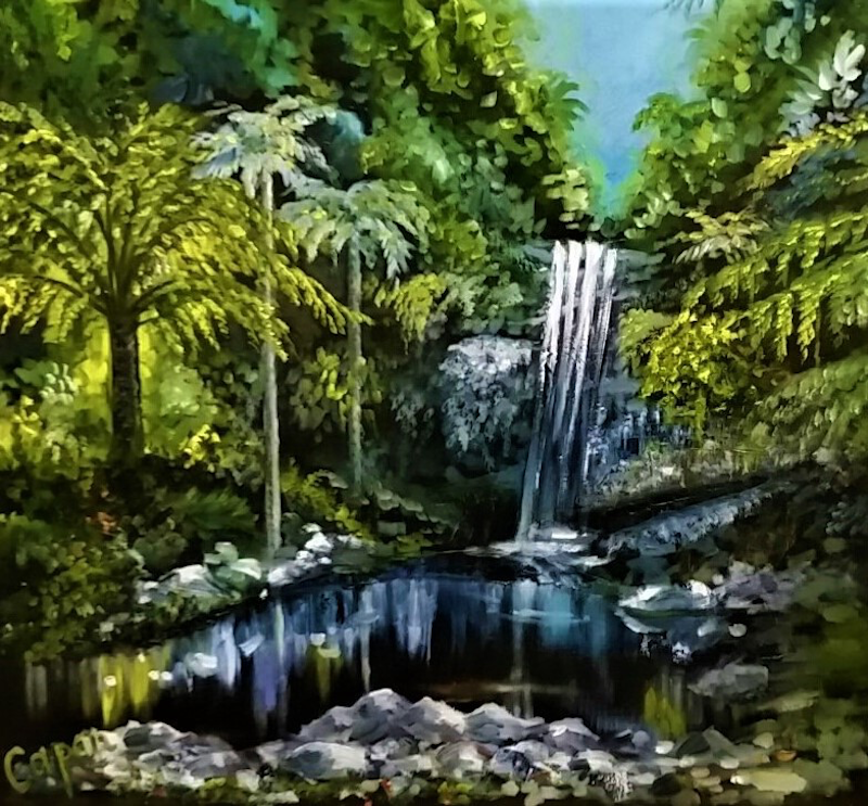 (CreativeWork) 'Curtis Falls, Tamborine Mountain' by Susan Capan. oil-painting. Shop online at Bluethumb.