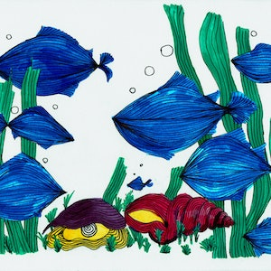 (CreativeWork) Fish Tank with Pearl by Ersu Turk. watercolour. Shop online at Bluethumb.