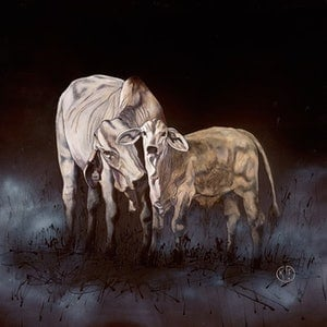 (CreativeWork) cow & calf by Katrina Goldsworthy. arcylic-painting. Shop online at Bluethumb.