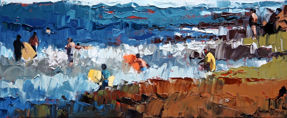 (CreativeWork) At the backbeach by Claire McCall. Oil Paint. Shop online at Bluethumb.