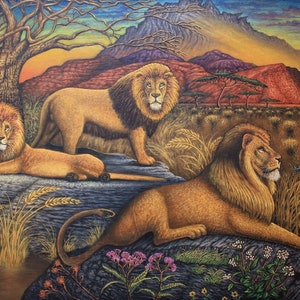 (CreativeWork) LION PRIDE by PAUL BRAZZODURO. oil-painting. Shop online at Bluethumb.