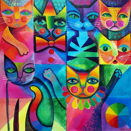(CreativeWork) Clown Cats by Karin Zeller. Acrylic Paint. Shop online at Bluethumb.