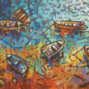 (CreativeWork) Low Tide Drift by Malcolm Lindsay. Acrylic Paint. Shop online at Bluethumb.