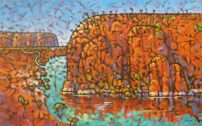 (CreativeWork) Barra Country by Malcolm Lindsay. Acrylic Paint. Shop online at Bluethumb.