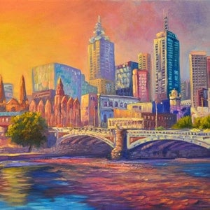(CreativeWork) Oil on canvas, Melbourne a city of colour by Christopher Vidal. oil-painting. Shop online at Bluethumb.