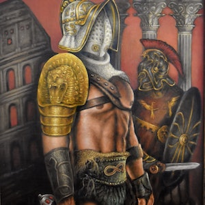 (CreativeWork) Gladiator by PAUL BRAZZODURO. oil-painting. Shop online at Bluethumb.