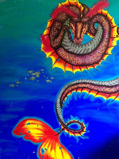 (CreativeWork) Underwater dragon by nicki francia. arcylic-painting. Shop online at Bluethumb.