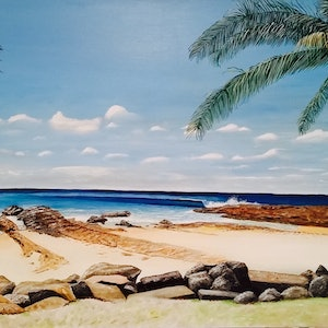 (CreativeWork) Snapper Rocks by Ronny Silcock. arcylic-painting. Shop online at Bluethumb.