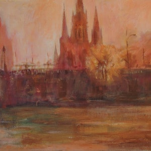 (CreativeWork) Melbourne.  Yarra river on summer. by Gennady Veremeenko. arcylic-painting. Shop online at Bluethumb.