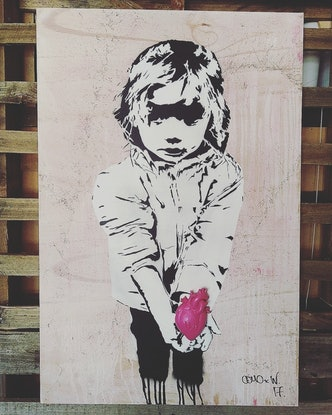 (CreativeWork) Innocence of Love (pink) by Camo Streetart. Mixed Media. Shop online at Bluethumb.