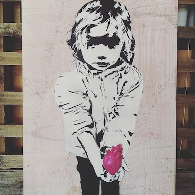 (CreativeWork) Innocence of Love (pink) by Camo Streetart. mixed-media. Shop online at Bluethumb.