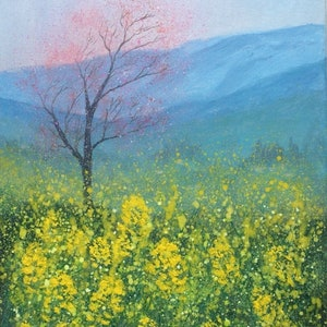 (CreativeWork) Rape field In mist  by Jing Tian. arcylic-painting. Shop online at Bluethumb.