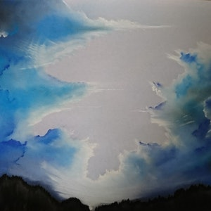 (CreativeWork) Sky Blues by Matthew Earl. drawing. Shop online at Bluethumb.