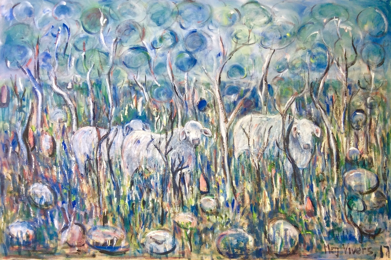 (CreativeWork) Northern Territory Bullocks by Meg Vivers. oil-painting. Shop online at Bluethumb.
