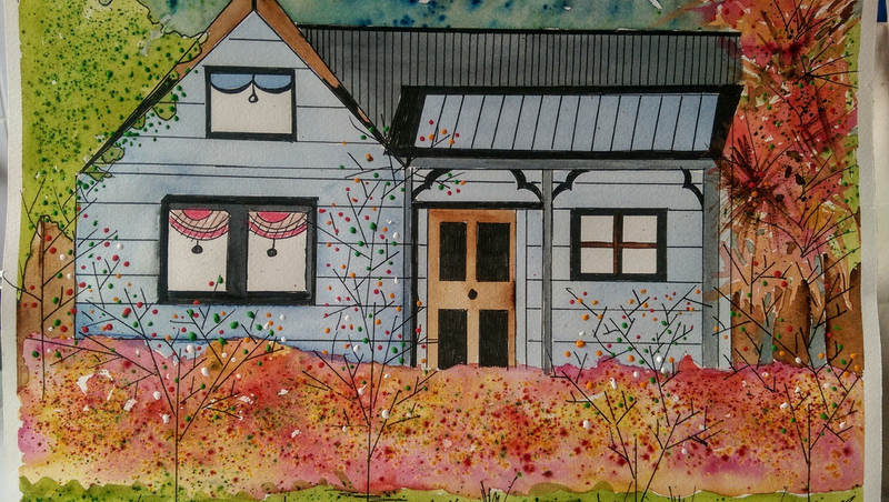 (CreativeWork) The Country Cottage by Meredith Dixon. mixed-media. Shop online at Bluethumb.