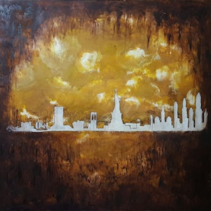 (CreativeWork) City Eclipse by Bruce Kirby. oil-painting. Shop online at Bluethumb.