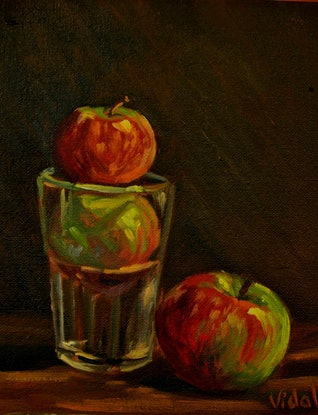 (CreativeWork) Still life - The three apples by Christopher Vidal. #<Filter:0x0000557211accaf0>. Shop online at Bluethumb.