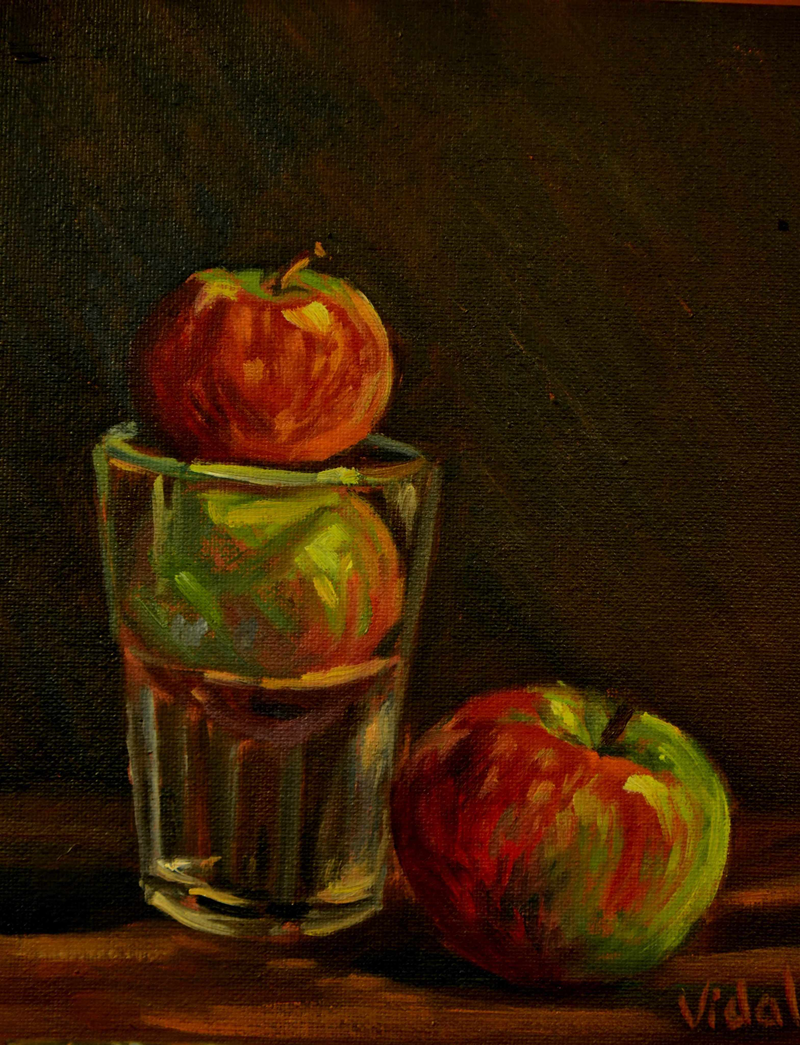 (CreativeWork) Still life - The three apples by Christopher Vidal. Oil Paint. Shop online at Bluethumb.