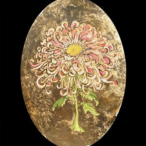 (CreativeWork) Chinese Chrysanthemum by Donna Christie. oil-painting. Shop online at Bluethumb.