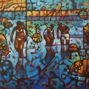 (CreativeWork) Low Tide Waders by Malcolm Lindsay. Acrylic Paint. Shop online at Bluethumb.