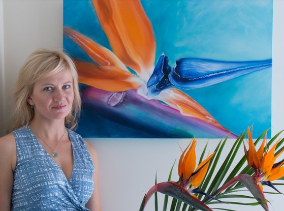 "(CreativeWork) ""The  Bird of Paradise"" by Elena Valerie. Oil Paint. Shop online at Bluethumb."
